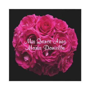 Pink Rose Bouquet Invitation for Quinceanera from Zazzle.com