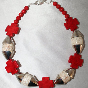 Bold Chunky White Turquoise Statement Necklace, Chunky Red Magnesite Cross Bead Choker Necklace, Big White Buffalo Statement Necklace,