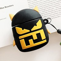 FENDI Airpods Case Wireless Bluetooth Headphone Case Little Monster Airpods 2 Silicone Case (No Headphones) Black