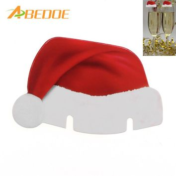 ABEDOE Table Place Cards Christmas Santa Hat Wine Glass Decoration Cute Christmas Hat Home Decor Xmas Party Christmas Supplies