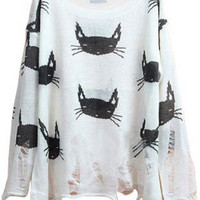 Black White Cats Sweater S006975
