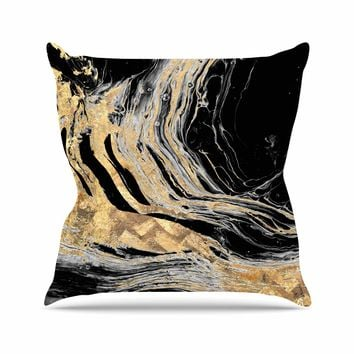 Gold Marble - Black Gold Modern Digital Throw Pillow