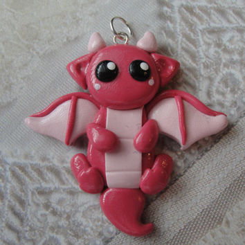 Clay Pink Dragon Charm