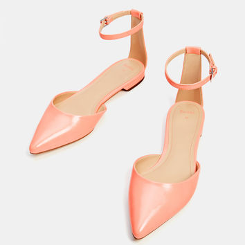 Flat shoes with ankle strap - New - Bershka United States
