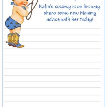 10 Cowboy Baby Shower Advice Cards