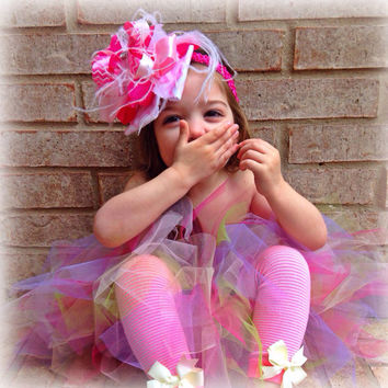 Easter cupcake tutu and matching Over the Top headband, Spring tutu, Easter tutu and Over the Top Bow on matching headband, Girls easter
