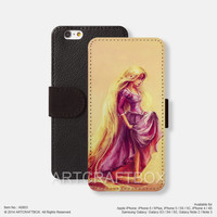 Rapunzel Oil Painting iPhone Samsung Galaxy leather wallet case cover 803
