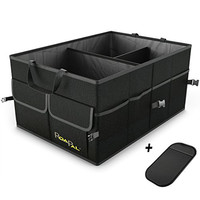 Premium Quality Auto Trunk Organizer by RoadPal For Car, SUV, Truck - Durable Collapsible Cargo Storage - Non Slip Bottom Strips to Prevent Sliding w/ Bonus Foldable WATERPROOF COVER (NEW Version)