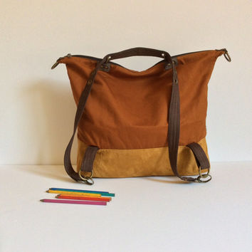 Brown vegan backpack, Backpack purse, backpack ,mens hobo bag, women shoulder bag, Camera Bag,s ynthetic Leather, travel,gym bag, school bag