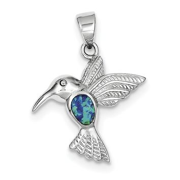 Sterling Silver Blue Inlay Created Opal Hummingbird Pendant