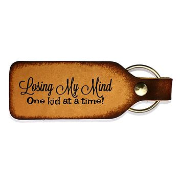 Losing My Mind Leather Engraved Keychain