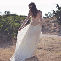 Ivory Lace Bohemian Wedding Dress Maxi Bridal Wedding Gown Handmade by SuzannaM Designs