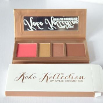 Kylie koko Make-Up 4-Color Highlighter Powder Makeup Cosmetic Shimmer Blusher Palette With Mirror Eye Shadow I13906-1