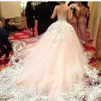 Elegant Custom Made  Ball Gowns Wedding Dresses Chapel Train Lace See Through Blush Wedding Gown 2017 Elegant Princess Dresses