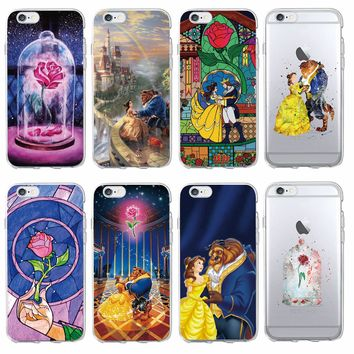 Beauty  Beast Rose Princess Soft Clear Phone Case Coque Fundas For iPhone 7 7Plus 6 6S 6Plus 8 8Plus X SAMSUNG Galaxy