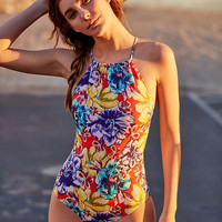 Out From Under Printed High Neck One-Piece Swimsuit - Urban Outfitters