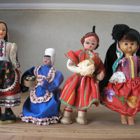 Vintage International Doll Instant Collection. Handmade Dolls Set from the 60s. Different Countries. Eros Doll.
