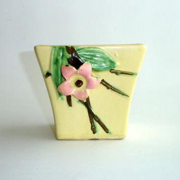 Vintage McCoy Pottery Planter, Blossomtime Blossom Time 4 inch vase, Yellow Pink Flower, Flower Planter, Flower Vase, Home Decor Collectible