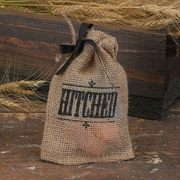 Hitched Burlap Favor Bag for Rustic Wedding