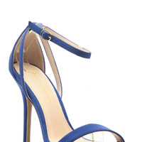 Royal Blue Faux Nubuck Ankle Strap Single Sole Heels