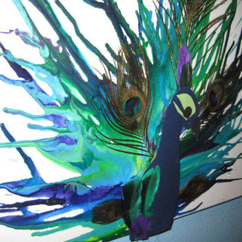 Peacock Melted Crayon Art by rachelaxelrad on Etsy