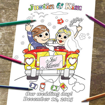 Just Married Printable Personalized Coloring Page Digital Wedding Party Bride Groom Invitation childrens kids activity JPEG file