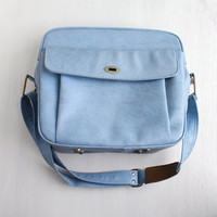 Vintage Blue Overnight Bag - Samsonite Carry On Luggage Large Travel Bag / Baby Blue Suitcase