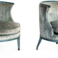 One Kings Lane - Kelly Wearstler: Modern Glamour - Vintage Blue Circular Chairs, Pair