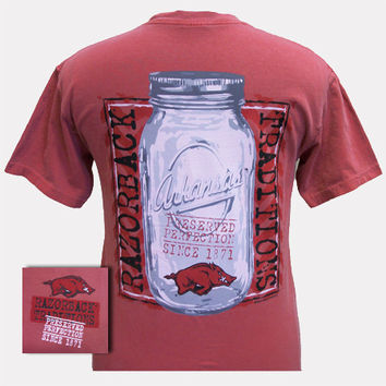New Arkansas Razorbacks Mason Jar Perfection Girlie Bright Comfort Colors T Shirt