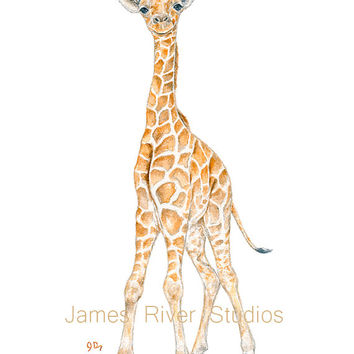 Giraffe Art Giraffe Painting Giraffe Print Giraffe Watercolor Painting Animal Watercolor Print Giraffe Nursery Art Giraffe Baby Giraffe 8x10