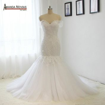 Detachable Straps Mermaid Lace Appliqued Wedding Dress