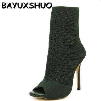 BAYUXSHUO New Fashion Designer Women Ankle Boots Stretch Knit High Heels Sexy Stiletto Pumps Sandals Sock Bootie Shoes Woman