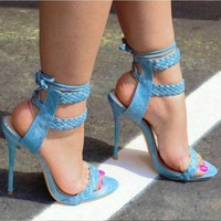 Weave Strappy Fashion Women Peep Toe Sandals High Heels Shoes