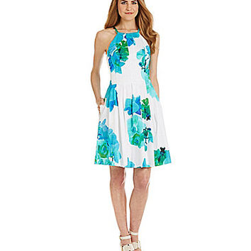 Calvin Klein Floral Printed Cotton Fit-and-Flare Dress - Maganese Mult