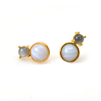 Amalfi Duo Studs with Chalcedony and Moonstone