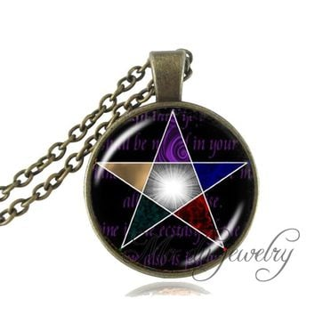 Vintage pentagram pendant necklace pentacle choker bronze chain statement necklace charms wiccan Occult pendants jewelry