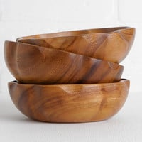 Vintage Wood Side or Salad Bowls, Small Fruit Bowls, Set of 3 with Optional 4th Bowl