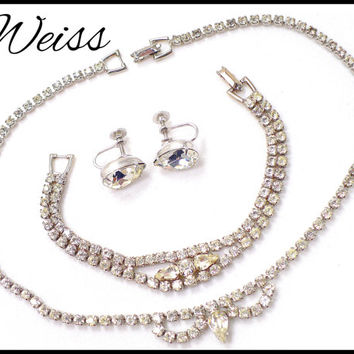 WEISS Rhinestone Necklace Bracelet & Earrings Set, Vintage Bridal Jewelry Maid of Honor Bridesmaid Pageant, Gift for Collector