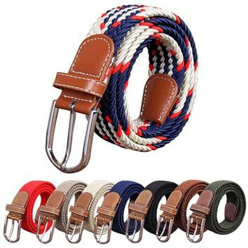 LMFLD1 Hot Selling  Men's Women's Canvas Plain Webbing Metal Buckle Woven Stretch Waist Belt Strap