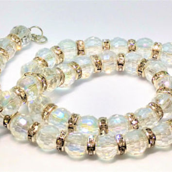 Beautiful Vintage Sparkling Crystal Bead  Necklace with Rhinestone Rhondelle Spacers, 18 1/2 inches