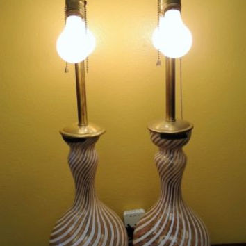 VINTAGE PAIR FRATELLI TOSO MURANO GLASS TABLE LAMPS MARBO LAMP COMPANY MID CENTU