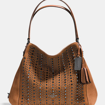 COACH ALL OVER STUDS AND GROMMETS EDIE SHOULDER BAG 31 IN SUEDE | Dillards