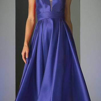Strapless Ball Gown Prom Dress Empire Waist Lace Up Back Royal Blue