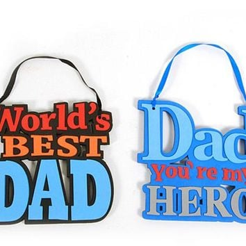 "Father's Day Hanging ""Dad You're My Hero"" and ""World's Best Dad"" Foam Signs"