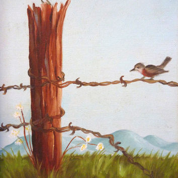 Vintage Birds Oil Painting Picture Gold Framed Prairie Art Signed Fence Post Pair of Birds Mountains Blue Green Brown Wall Art  12 x 16 in