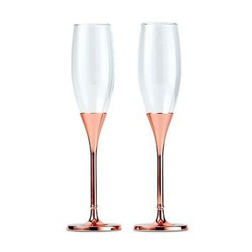 Rose Gold Champagne Glasses With Rhinestone Crystals (Set of 2)