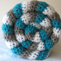 MAY SALE! White, Blue, and Gray Stripe Baby Blanket Crochet