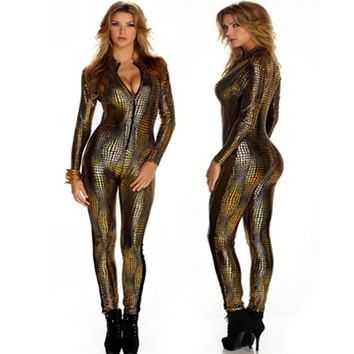 New Women Sexy Metal Black Gold Silver Snake Skin Faux Leather Zipper Fornt Bandage Jumpsuit Bodysuit Catsuit Overall