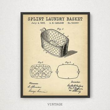 Laundry Prints, Splint Laundry Basket Patent Print, Digital Blueprint Wall Art Poster, Laundry Decor, Laundry Gallery Wall, Laundry Patent