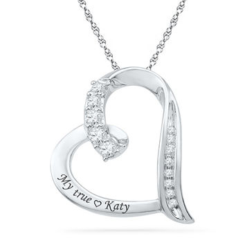 Lab-Created White Sapphire and Diamond Accent Engraved Tilted Heart Pendant in Sterling Silver (14 Characters)